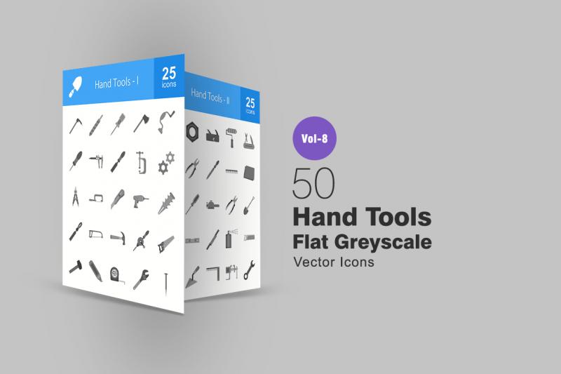 50手工具平灰度图标icon