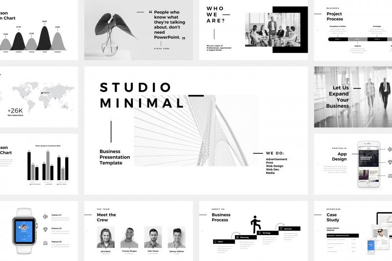 工作室最小的演示文稿PowerPoint模板